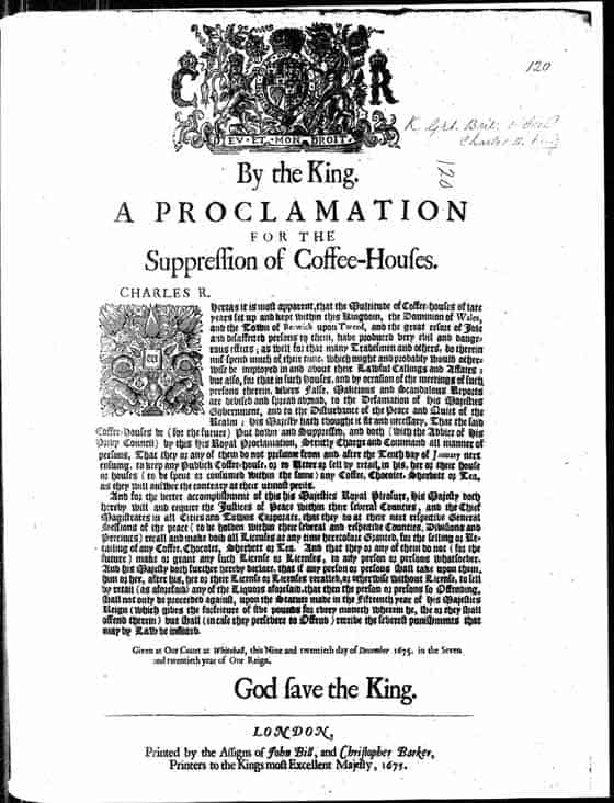 Proclamation for the Supression of Coffee-Houses, Charles II of England