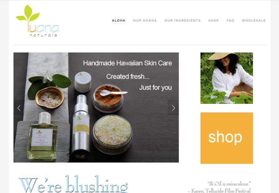 Homepage for Luana Naturals at www.LuanaNaturals.com