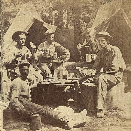 Photo of Civil War camp meal