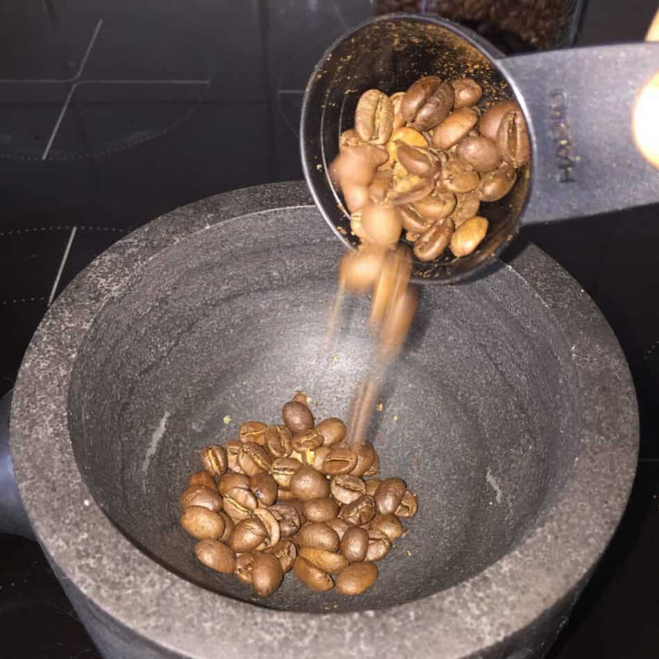 Coffee beans pouring
