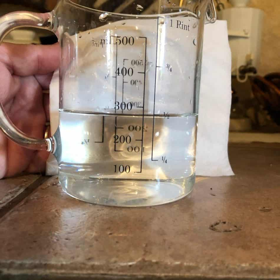 measuring cup of water