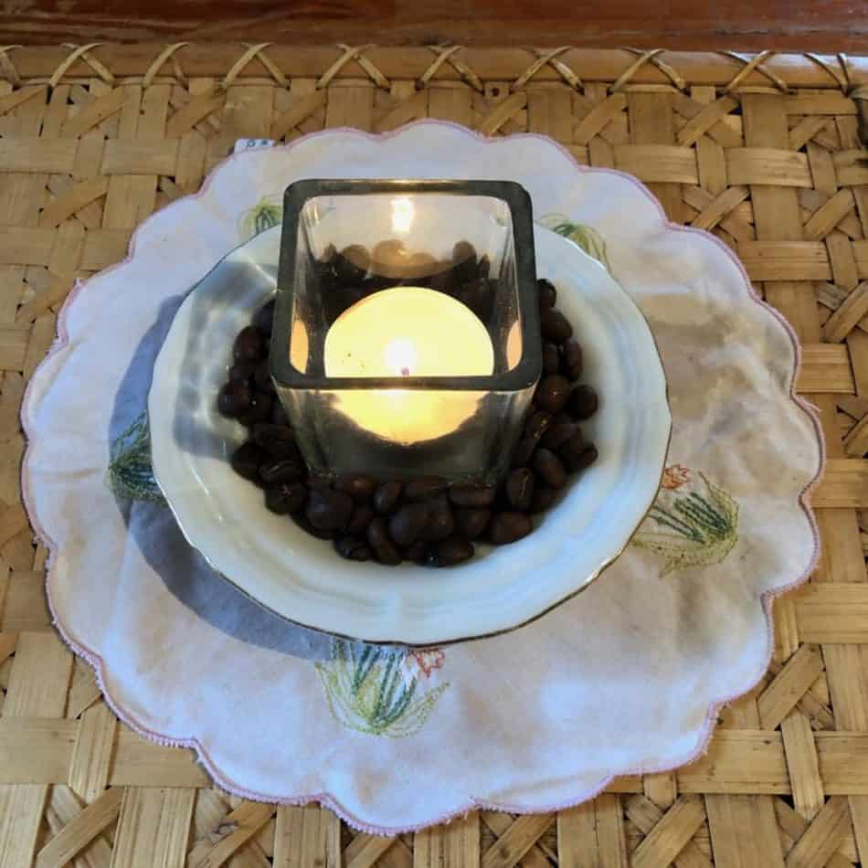 lovely candle display with coffee