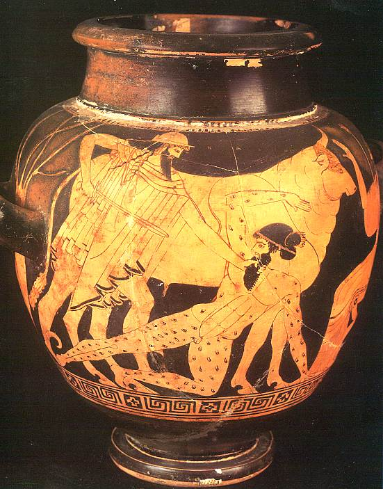 Ancient Grecian urn featuring Hermes and Argus Panoptes