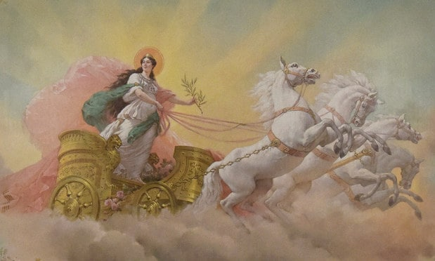 the goddess aurora in her 4-horse chariot
