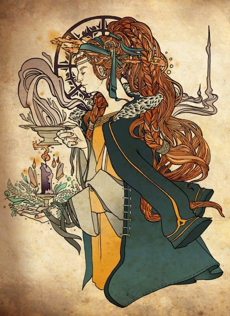 Print of the Irish goddess of the hearth, Brigid
