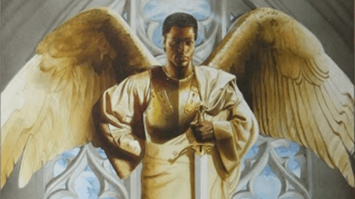 detail from The Guardian by Edward Clay Wright showing a black archangel with sword