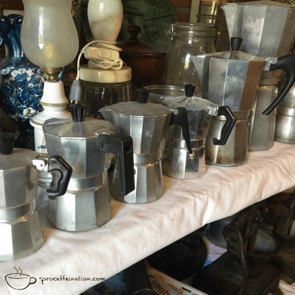 Moka pots in an antique store