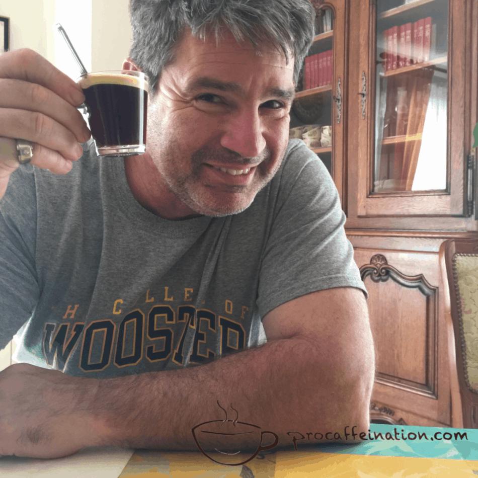 Tim Bruno with an espresso
